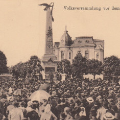 PLOIESTI, MONUMENTUL VANATORILOR, ADUNARE POPULARA - Carte Postala Muntenia dupa 1918, Necirculata, Printata