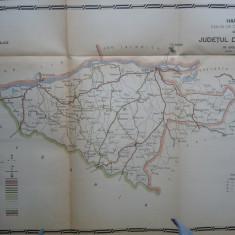 Harta color a cailor de comunicatie din Judetul Durostor , 1916