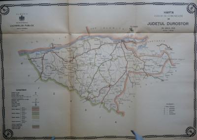 Harta color a cailor de comunicatie din Judetul Durostor , 1916 foto
