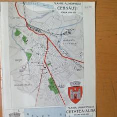 Cernauti Cetatea Alba Chisinau plan oras harta color anii 1930