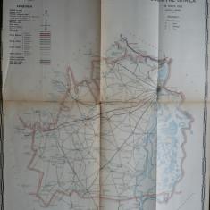 Harta color a cailor de comunicatie din Judetul Braila , 1915