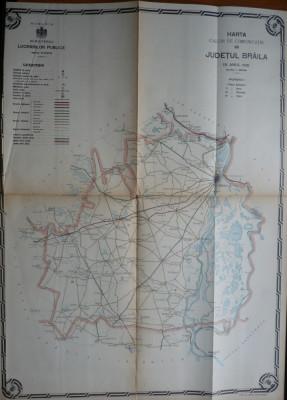 Harta color a cailor de comunicatie din Judetul Braila , 1915 foto