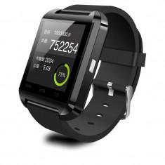 "Smartwatch Cronos U8, Capacitive touchscreen 1.48"", Bluetooth, Bratara silicon, Functie telefon (Negru)"