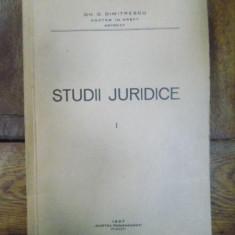 STUDII JURIDICE, VOL.I, GH.D.DIMITRESCU, 1937 cu dedicatia autorului