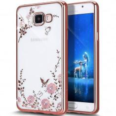 Husa carcasa din silicon electroplating cu cristale pentru Samsung Galaxy A3 2016 model flori, rose - Husa Telefon Oem