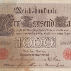 GERMANIA 1.000 marci 1910 VF!!! - bancnota europa