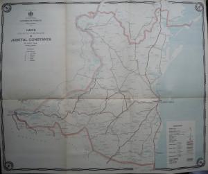 Harta color a cailor de comunicatie din Judetul Constanta , 1915