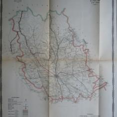 Harta color a cailor de comunicatie din Judetul Prahova, 1915