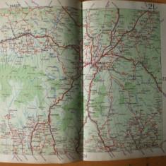 Brasov Fagaras Campulung Sf. Gheorghe Predeal Sinaia harta color anii 1930 - Harta Romaniei