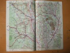 Bacau Piatra Neamt Vaslui Barlad Targu Ocna Onesti Adjud harta color anii 1930 foto