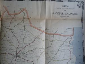 Harta color a cailor de comunicatie din Judetul Caliacra , 1916