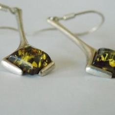Cercei de argint cu chihlimbar verde - Cercei argint