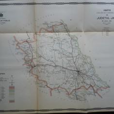 Harta color a cailor de comunicatie din Judetul Iasi , 1915