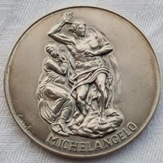 Argint MICHELANGELO marcata SEMNATA in cutie originala MUZEUL VATICAN colectie, Placheta