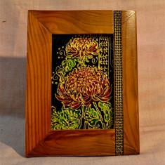 Pictura pe sticla , semnat Moros 2014 ( Tablou mic cu rama 18x14 cm ) #500, Flori, Ulei, Abstract