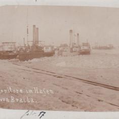 BRAILA, MONITOARE, NAVE DE RAZBOI IN PORTUL BRAILA FEBRUARIE 1917 - Carte Postala Muntenia 1904-1918, Necirculata, Fotografie