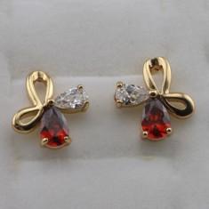 LIVRARE GRATUITA CERCEI placati aur 18k filati piatra rubin si zirconiu floare - Cercei placati cu aur Swarovski