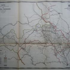 Harta color a cailor de comunicatie din Judetul Suceava, 1914