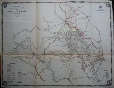 Harta color a cailor de comunicatie din Judetul Suceava , 1914 foto