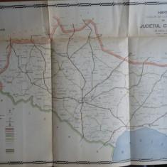 Harta color a cailor de comunicatie din Judetul Caliacra, 1916