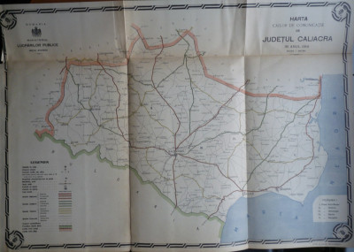 Harta color a cailor de comunicatie din Judetul Caliacra , 1916 foto