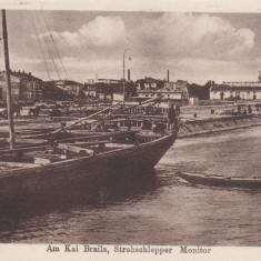 PORTUL BRAILA CU NAVA DE RAZBOI STROHSCHLEPPER CIRC. 1918 POSTA GERMANA - Carte Postala Muntenia 1904-1918, Necirculata, Printata