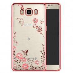 Husa carcasa din silicon electroplating cu cristale pentru Samsung Galaxy J5 model flori, rose - Husa Telefon Oem