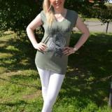 Tricou de vara din bumbac, culoare kaki, cu design deosebit (Culoare: KAKI, Marime: 40) - Bluza dama