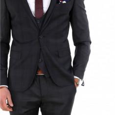 Costum carouri - sacou + vesta + pantaloni costum barbati casual office - 7943, Marime: 44, 46, 50, 52, Culoare: Negru
