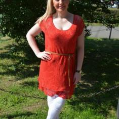 Bluza lejera, tinereasca de vara cu aspect de dantela, rosie (Culoare: ROSU, Marime: 44) - Bluza dama