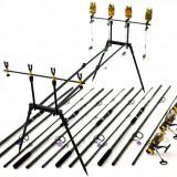 Kit Compet Pescuit Crap 4 Lans 4 mulin Si  Rod Pod Echipat Cu Senzori Si Swing