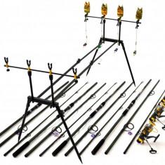 Kit Compet 3.9m Pescuit Crap 4 Lans 4 Mulin Rod Pod Echipat Cu Senzori Si Swing - Set pescuit