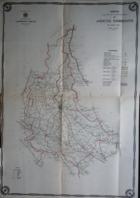 Harta color a cailor de comunicatie din Judetul Dambovita, 1914 foto