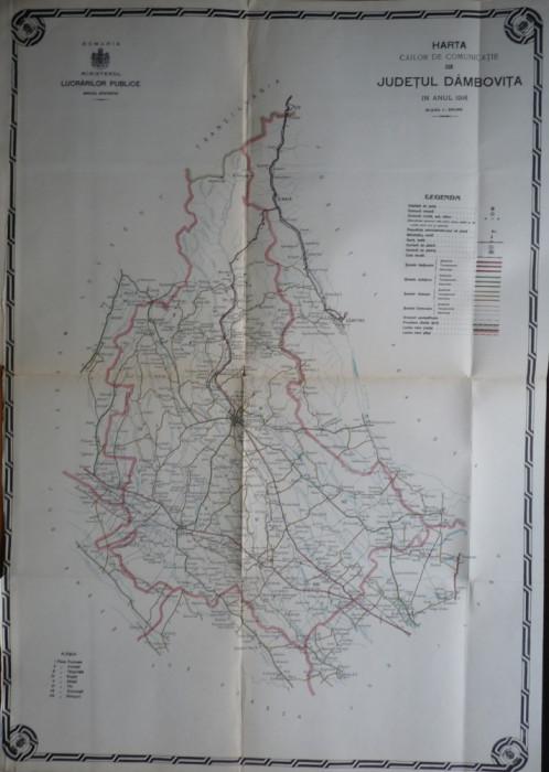 Harta color a cailor de comunicatie din Judetul Dambovita, 1914