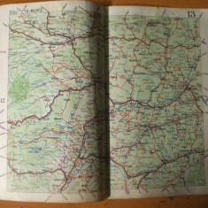 Cluj Targu Mures Aiud Alba - Iulia Medias Turda harta color anii 1930