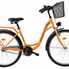 Bicicleta DHS Citadinne 2832 (2017) Portocaliu, 450mmPB Cod:21728324540 - Bicicleta de oras DHS, 11 inch, Otel