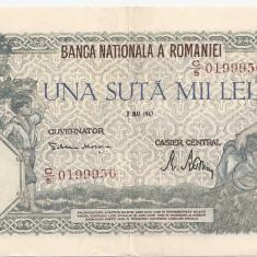 ROMANIA 100000 LEI 8 MAI 1947 AUNC