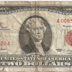 SUA USA 2 DOLARI DOLLARS 1963 F - bancnota america