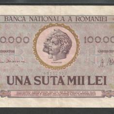 ROMANIA  100000 100.000  LEI  25  ianuarie  1947  [6]   BNR  vertical