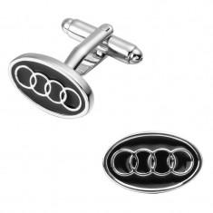 Butoni camasa logo Audi metalici tema auto silver cu negru