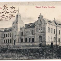 Timisoara Temesvar carte postala circulata in 1904, Gizella Arvahaz, Orfelinatul - Carte Postala Banat pana la 1904, Printata
