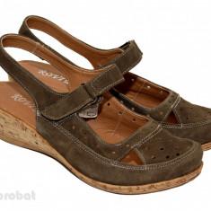Sandale dama piele naturala velur maro cu platforma cod S16 - Made in Romania, Marime: 35, 36, 37, 38, 39, 40