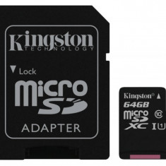 MicroSDHC 64GB (Class 10) + adaptor SD KINGSTON