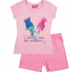 Pijama de vara Trolls roz