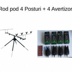 Set Rod pod - Rodpod pentru 4 lansete de Crap Baracuda + 4 Avertizori FL
