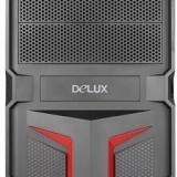 CARCASA Delux cu sursa 450W, ATX Mid-Tower, Front USB+Audio, (Black&Red), MV888