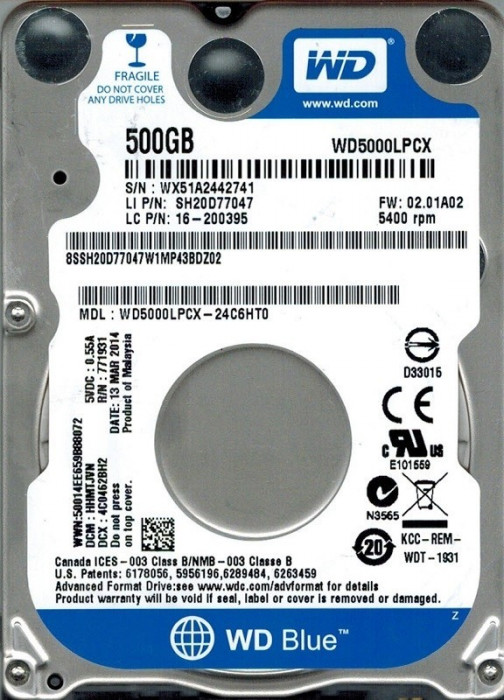 "HDD Notebook 2.5"" 500GB 5400rpm 16M SATA3 WD foto mare"