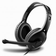 CASTI Edifier stereo cu microfon pe casca, control volum pe fir, protectie ureche din piele, black,