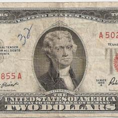 SUA USA 2 DOLARI DOLLARS 1953 A F - bancnota america