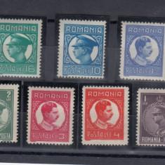 ROMANIA 1930, LP 86, CAROL II FILIGRAN PTT (UZUALE) SERIE CU SARNIERA - Timbre Romania, Nestampilat